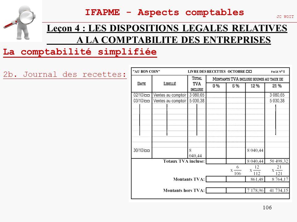 106 IFAPME - Aspects comptables JC WOIT Leçon 4 : LES DISPOSITIONS LEGALES RELATIVES A LA COMPTABILITE DES ENTREPRISES La comptabilité simplifiée 2b.