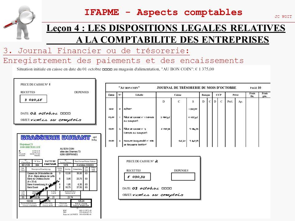 107 IFAPME - Aspects comptables JC WOIT Leçon 4 : LES DISPOSITIONS LEGALES RELATIVES A LA COMPTABILITE DES ENTREPRISES 3. Journal Financier ou de trés