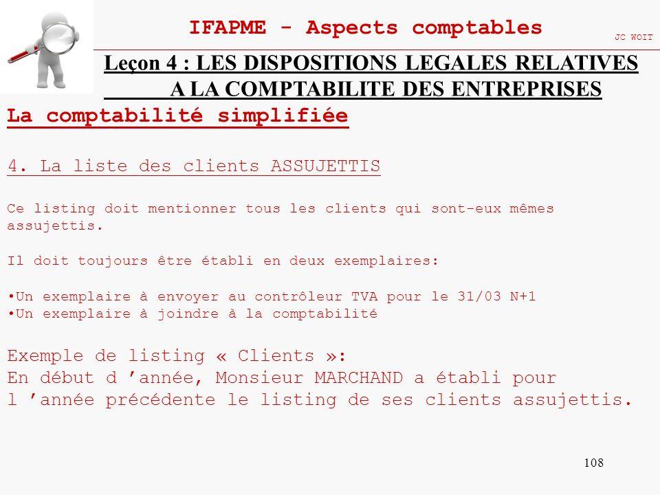 108 IFAPME - Aspects comptables JC WOIT Leçon 4 : LES DISPOSITIONS LEGALES RELATIVES A LA COMPTABILITE DES ENTREPRISES La comptabilité simplifiée 4. L