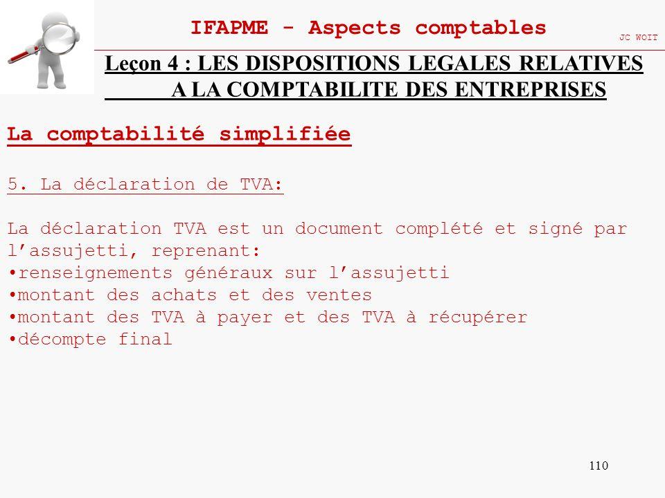 110 IFAPME - Aspects comptables JC WOIT Leçon 4 : LES DISPOSITIONS LEGALES RELATIVES A LA COMPTABILITE DES ENTREPRISES La comptabilité simplifiée 5. L