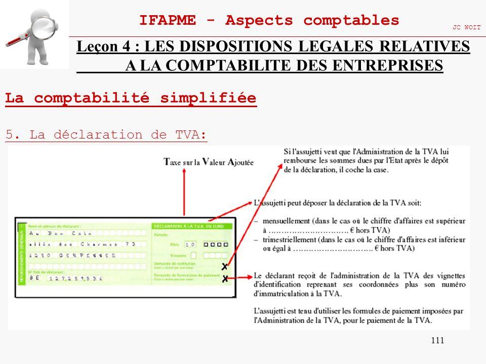 111 IFAPME - Aspects comptables JC WOIT Leçon 4 : LES DISPOSITIONS LEGALES RELATIVES A LA COMPTABILITE DES ENTREPRISES La comptabilité simplifiée 5. L