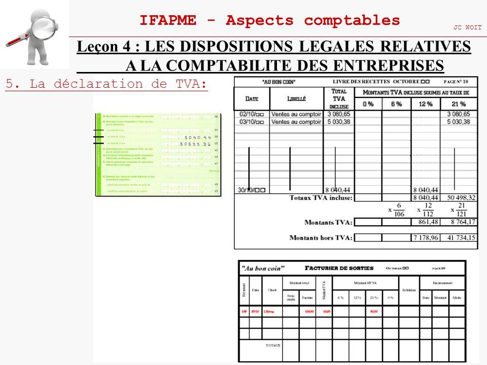 112 IFAPME - Aspects comptables JC WOIT Leçon 4 : LES DISPOSITIONS LEGALES RELATIVES A LA COMPTABILITE DES ENTREPRISES 5. La déclaration de TVA: