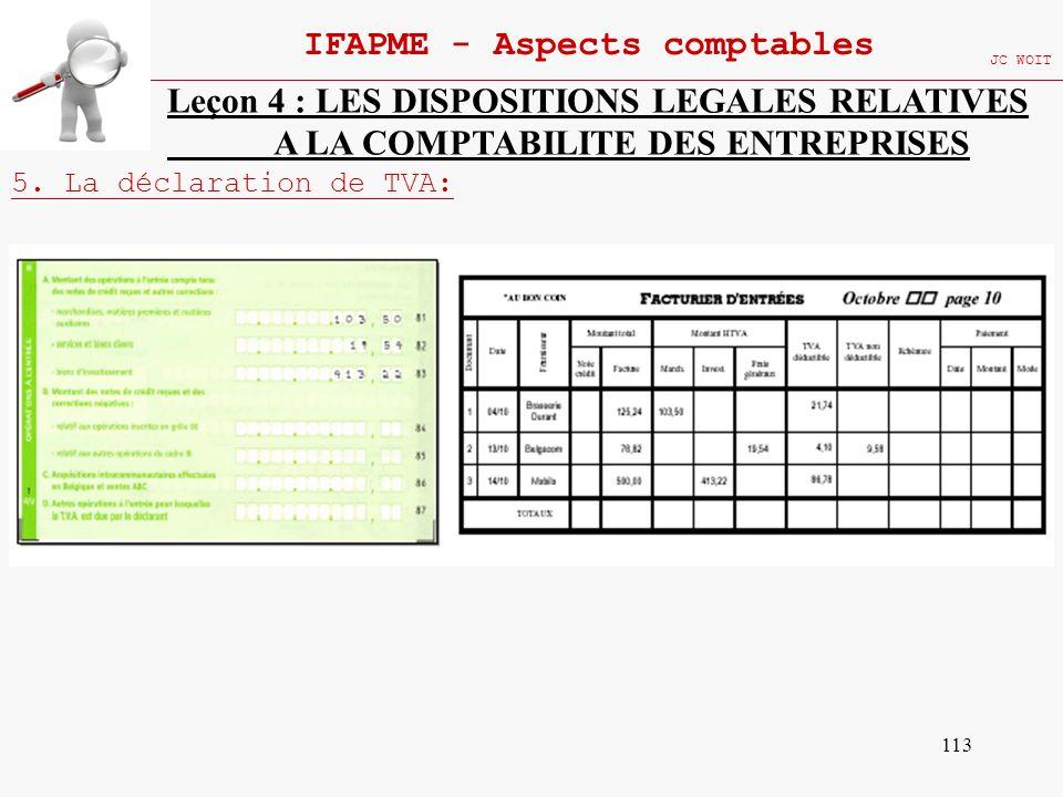 113 IFAPME - Aspects comptables JC WOIT Leçon 4 : LES DISPOSITIONS LEGALES RELATIVES A LA COMPTABILITE DES ENTREPRISES 5. La déclaration de TVA: