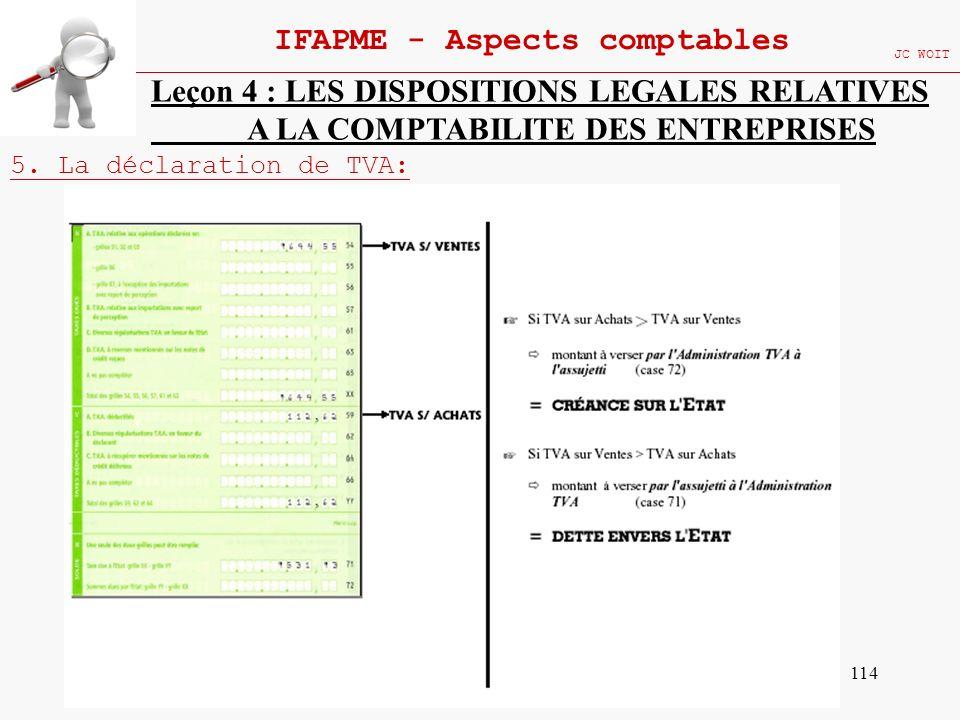 114 IFAPME - Aspects comptables JC WOIT Leçon 4 : LES DISPOSITIONS LEGALES RELATIVES A LA COMPTABILITE DES ENTREPRISES 5. La déclaration de TVA: