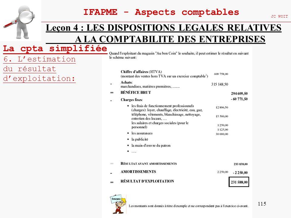 115 IFAPME - Aspects comptables JC WOIT Leçon 4 : LES DISPOSITIONS LEGALES RELATIVES A LA COMPTABILITE DES ENTREPRISES La cpta simplifiée 6. Lestimati