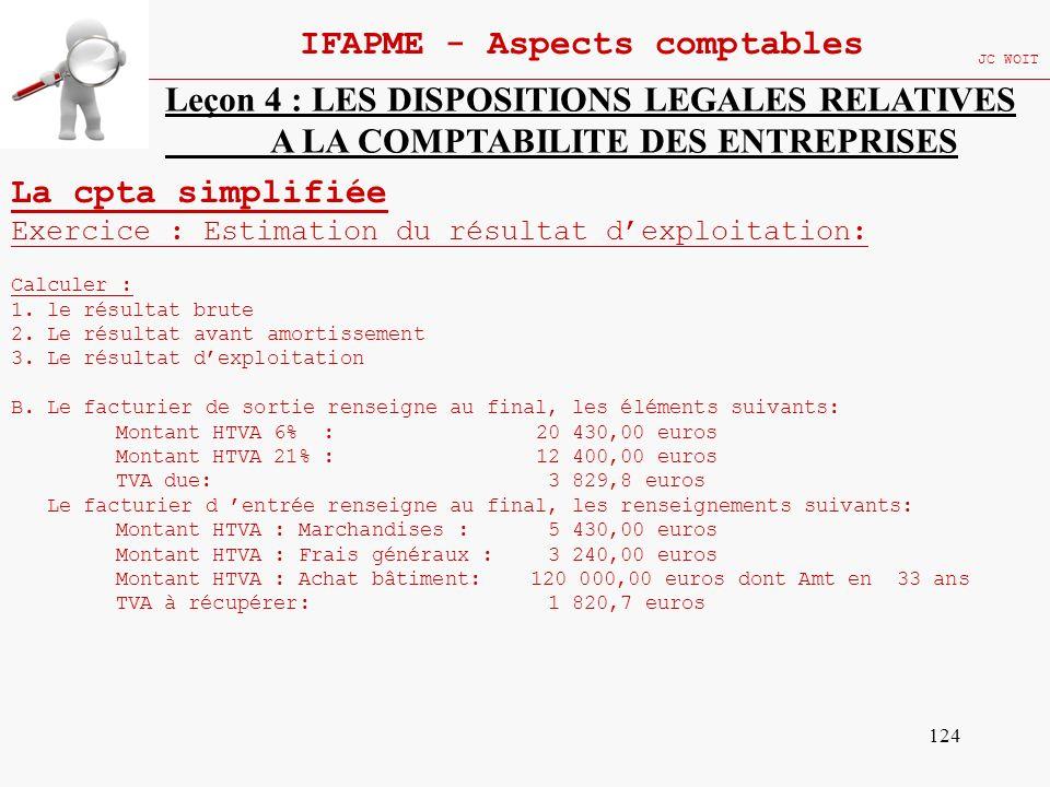 124 IFAPME - Aspects comptables JC WOIT Leçon 4 : LES DISPOSITIONS LEGALES RELATIVES A LA COMPTABILITE DES ENTREPRISES La cpta simplifiée Exercice : E