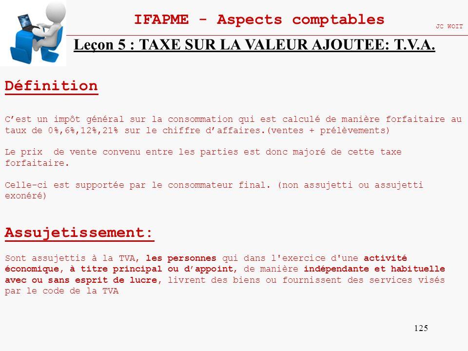 125 IFAPME - Aspects comptables JC WOIT Leçon 5 : TAXE SUR LA VALEUR AJOUTEE: T.V.A. Définition Cest un impôt général sur la consommation qui est calc