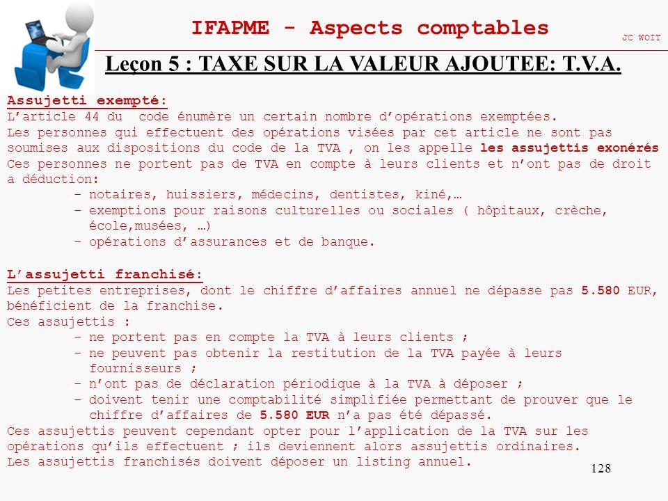128 IFAPME - Aspects comptables JC WOIT Leçon 5 : TAXE SUR LA VALEUR AJOUTEE: T.V.A. Assujetti exempté: Larticle 44 du code énumère un certain nombre