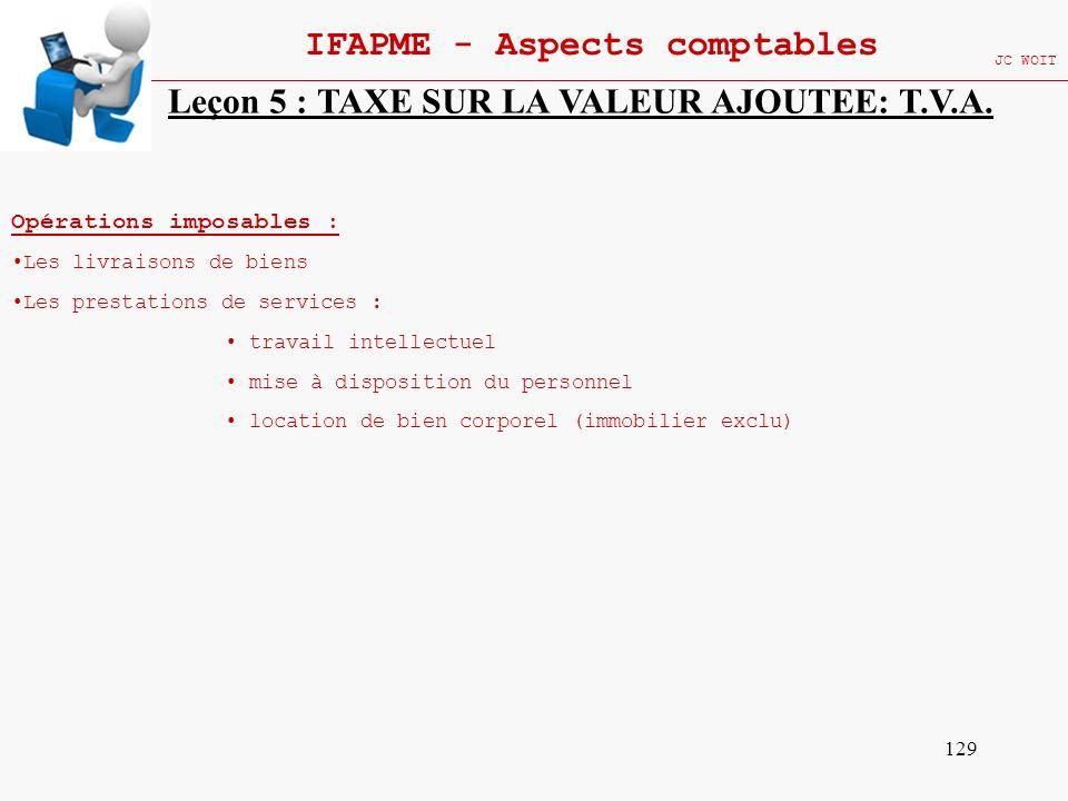 129 IFAPME - Aspects comptables JC WOIT Leçon 5 : TAXE SUR LA VALEUR AJOUTEE: T.V.A. Opérations imposables : Les livraisons de biens Les prestations d