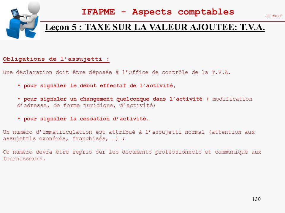130 IFAPME - Aspects comptables JC WOIT Leçon 5 : TAXE SUR LA VALEUR AJOUTEE: T.V.A. Obligations de lassujetti : Une déclaration doit être déposée à l