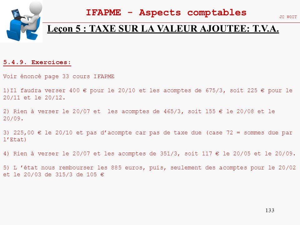 133 IFAPME - Aspects comptables JC WOIT Leçon 5 : TAXE SUR LA VALEUR AJOUTEE: T.V.A. 5.4.9. Exercices: Voir énoncé page 33 cours IFAPME 1)Il faudra ve