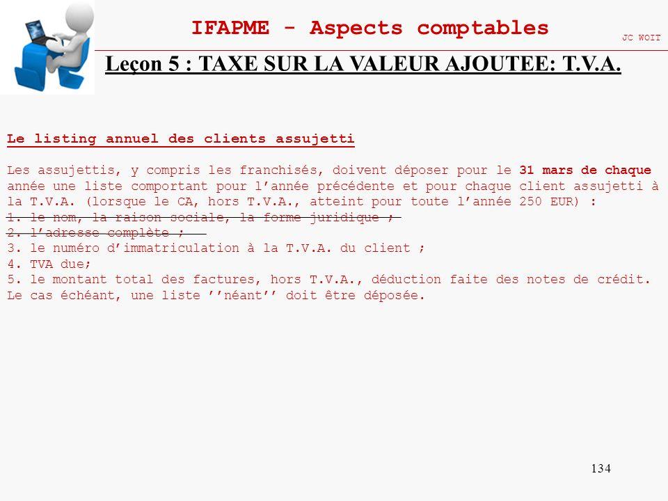 134 IFAPME - Aspects comptables JC WOIT Leçon 5 : TAXE SUR LA VALEUR AJOUTEE: T.V.A. Le listing annuel des clients assujetti Les assujettis, y compris