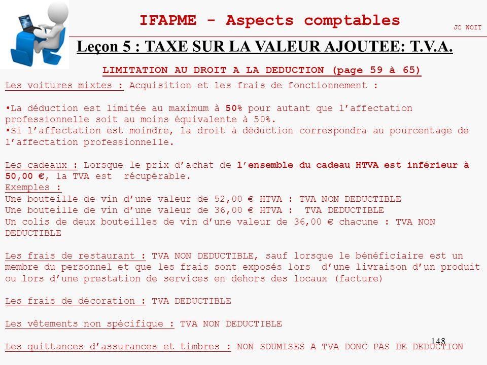148 IFAPME - Aspects comptables JC WOIT Leçon 5 : TAXE SUR LA VALEUR AJOUTEE: T.V.A. LIMITATION AU DROIT A LA DEDUCTION (page 59 à 65) Les voitures mi
