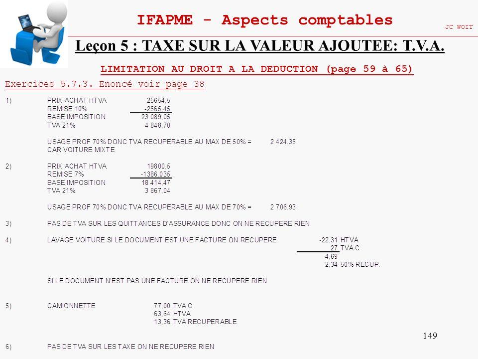 149 IFAPME - Aspects comptables JC WOIT Leçon 5 : TAXE SUR LA VALEUR AJOUTEE: T.V.A. LIMITATION AU DROIT A LA DEDUCTION (page 59 à 65) Exercices 5.7.3