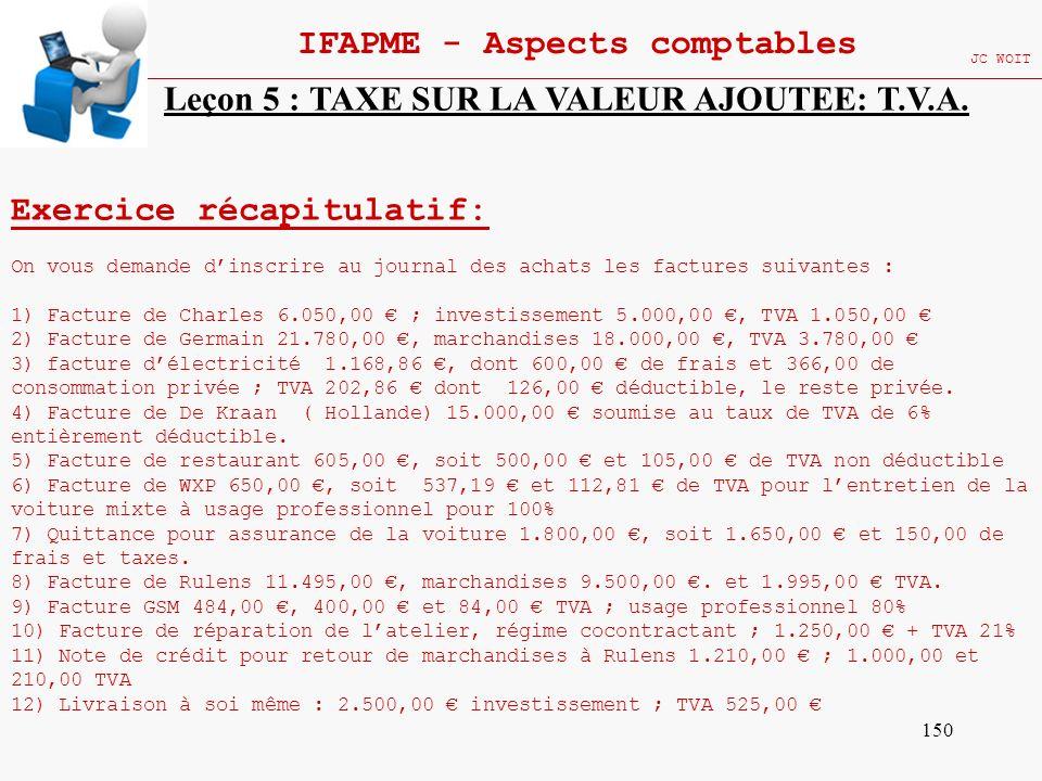 150 IFAPME - Aspects comptables JC WOIT Exercice récapitulatif: On vous demande dinscrire au journal des achats les factures suivantes : 1) Facture de