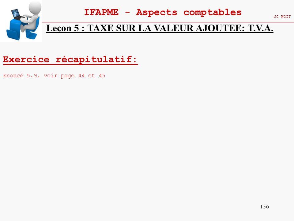 156 IFAPME - Aspects comptables JC WOIT Exercice récapitulatif: Enoncé 5.9. voir page 44 et 45 Leçon 5 : TAXE SUR LA VALEUR AJOUTEE: T.V.A.