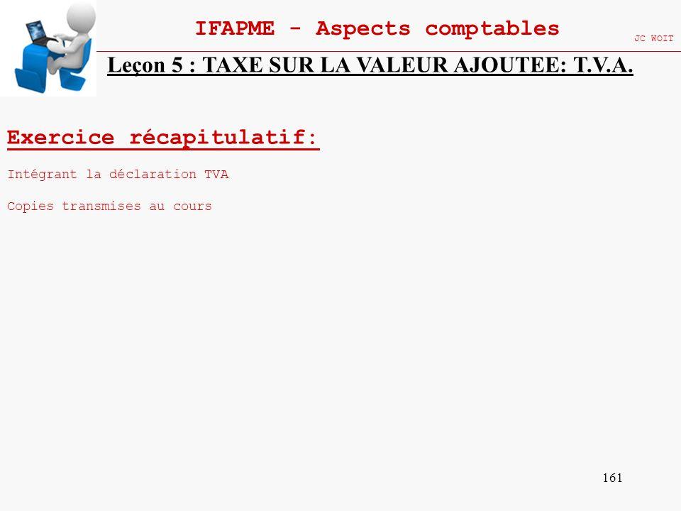 161 IFAPME - Aspects comptables JC WOIT Exercice récapitulatif: Intégrant la déclaration TVA Copies transmises au cours Leçon 5 : TAXE SUR LA VALEUR A