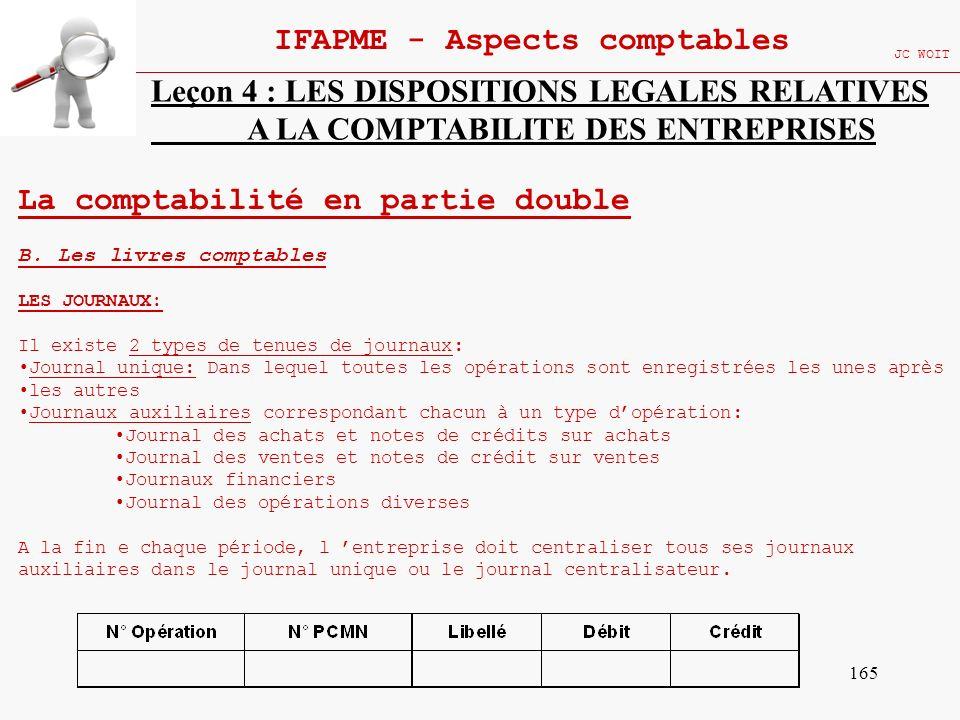 165 IFAPME - Aspects comptables JC WOIT Leçon 4 : LES DISPOSITIONS LEGALES RELATIVES A LA COMPTABILITE DES ENTREPRISES La comptabilité en partie doubl