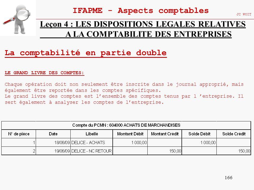 166 IFAPME - Aspects comptables JC WOIT Leçon 4 : LES DISPOSITIONS LEGALES RELATIVES A LA COMPTABILITE DES ENTREPRISES La comptabilité en partie doubl