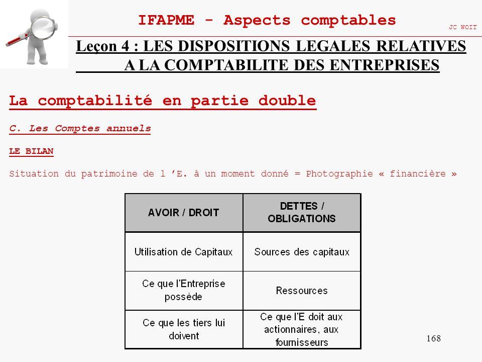 168 IFAPME - Aspects comptables JC WOIT Leçon 4 : LES DISPOSITIONS LEGALES RELATIVES A LA COMPTABILITE DES ENTREPRISES La comptabilité en partie doubl