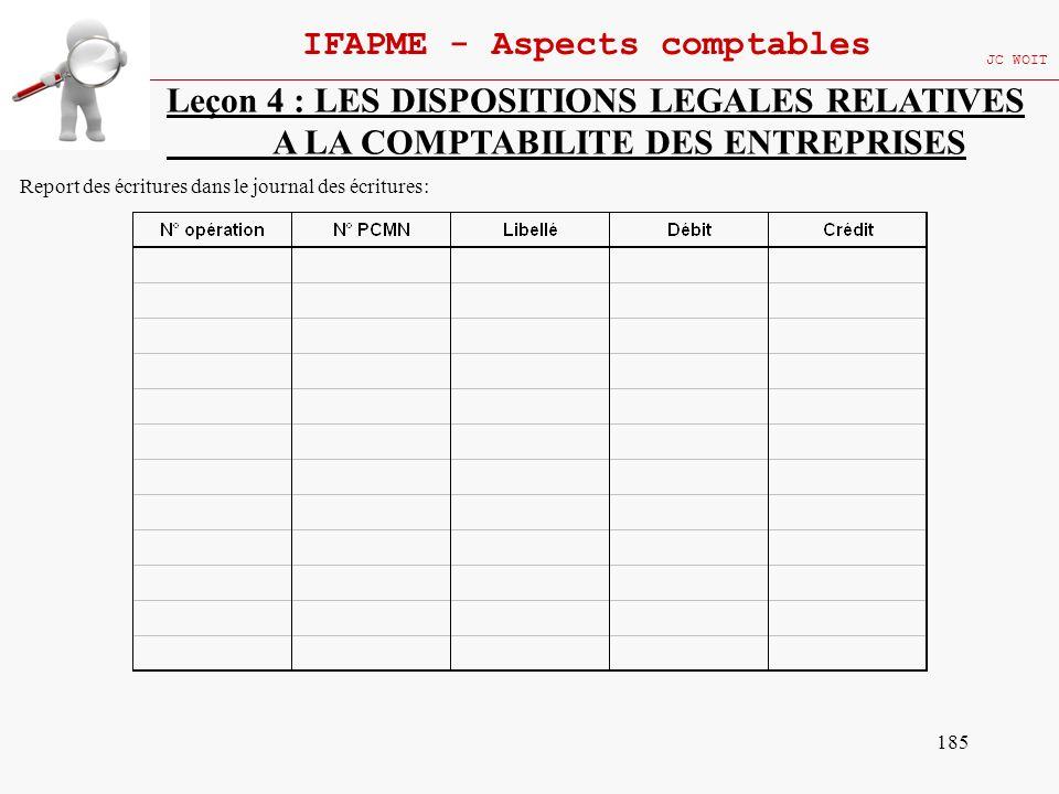 185 IFAPME - Aspects comptables JC WOIT Leçon 4 : LES DISPOSITIONS LEGALES RELATIVES A LA COMPTABILITE DES ENTREPRISES Report des écritures dans le jo
