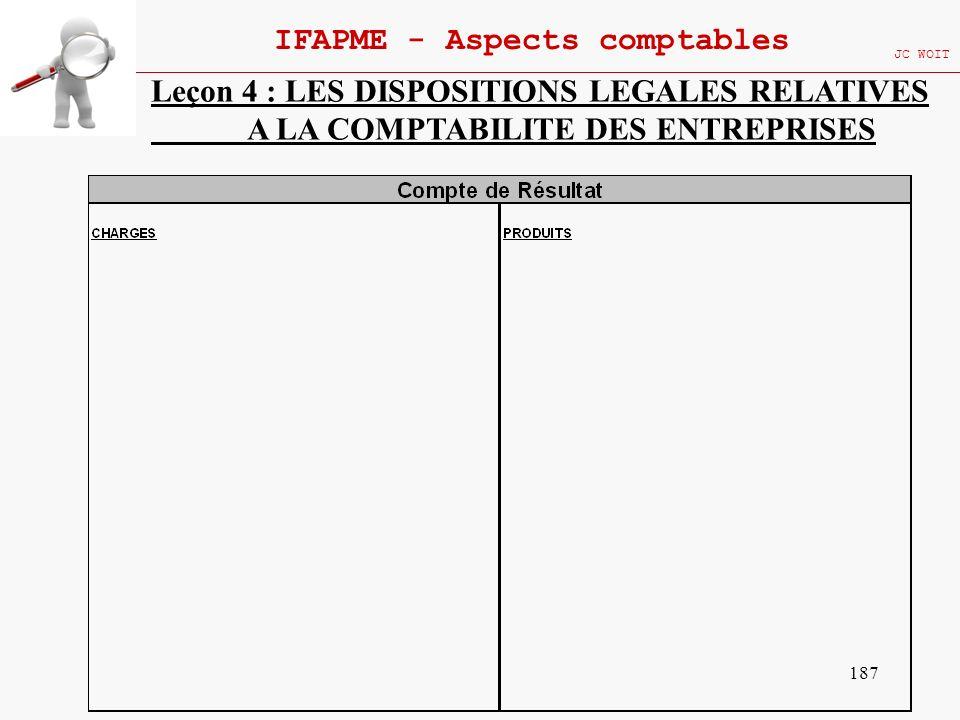 187 IFAPME - Aspects comptables JC WOIT Leçon 4 : LES DISPOSITIONS LEGALES RELATIVES A LA COMPTABILITE DES ENTREPRISES