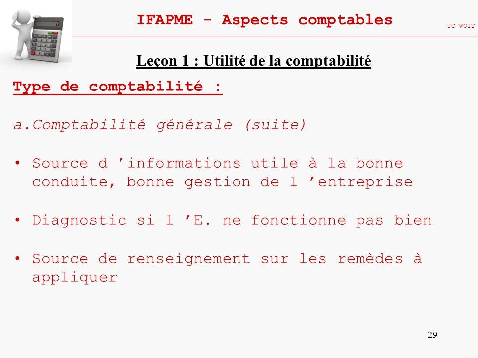 29 IFAPME - Aspects comptables JC WOIT Type de comptabilité : a.Comptabilité générale (suite) Source d informations utile à la bonne conduite, bonne g