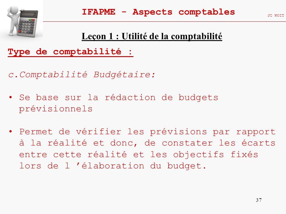 37 IFAPME - Aspects comptables JC WOIT Type de comptabilité : c.Comptabilité Budgétaire: Se base sur la rédaction de budgets prévisionnels Permet de v