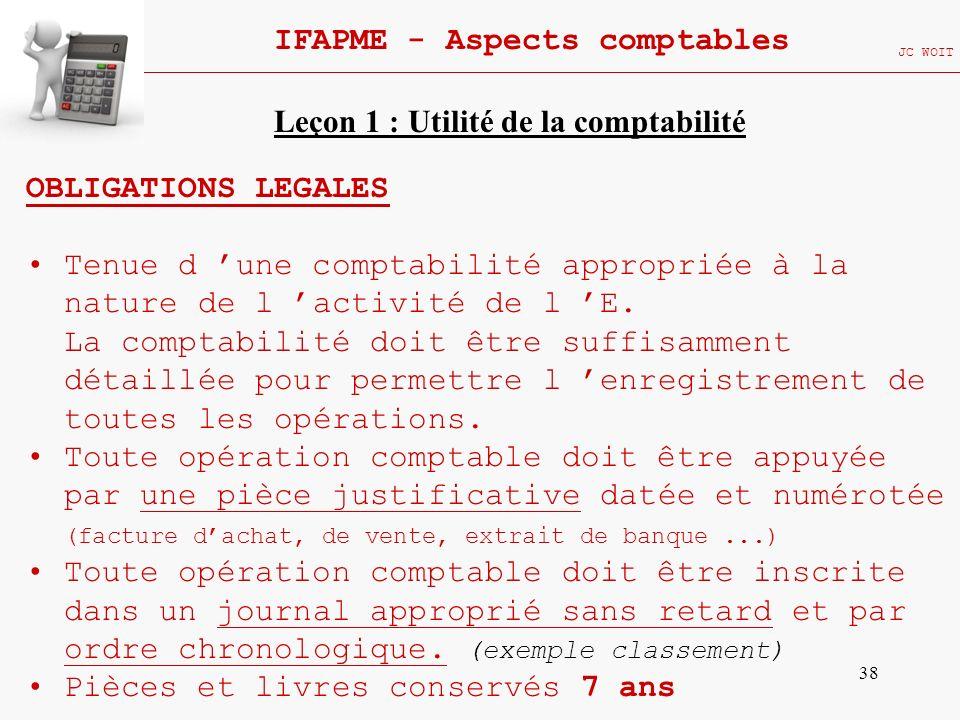 38 IFAPME - Aspects comptables JC WOIT OBLIGATIONS LEGALES Tenue d une comptabilité appropriée à la nature de l activité de l E. La comptabilité doit