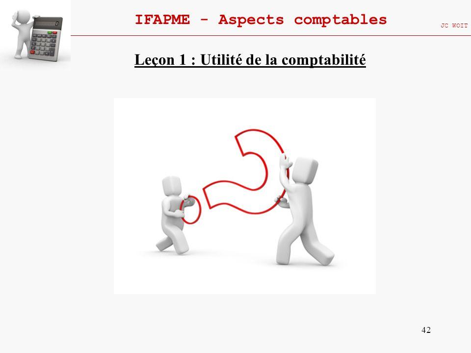 42 IFAPME - Aspects comptables JC WOIT Leçon 1 : Utilité de la comptabilité