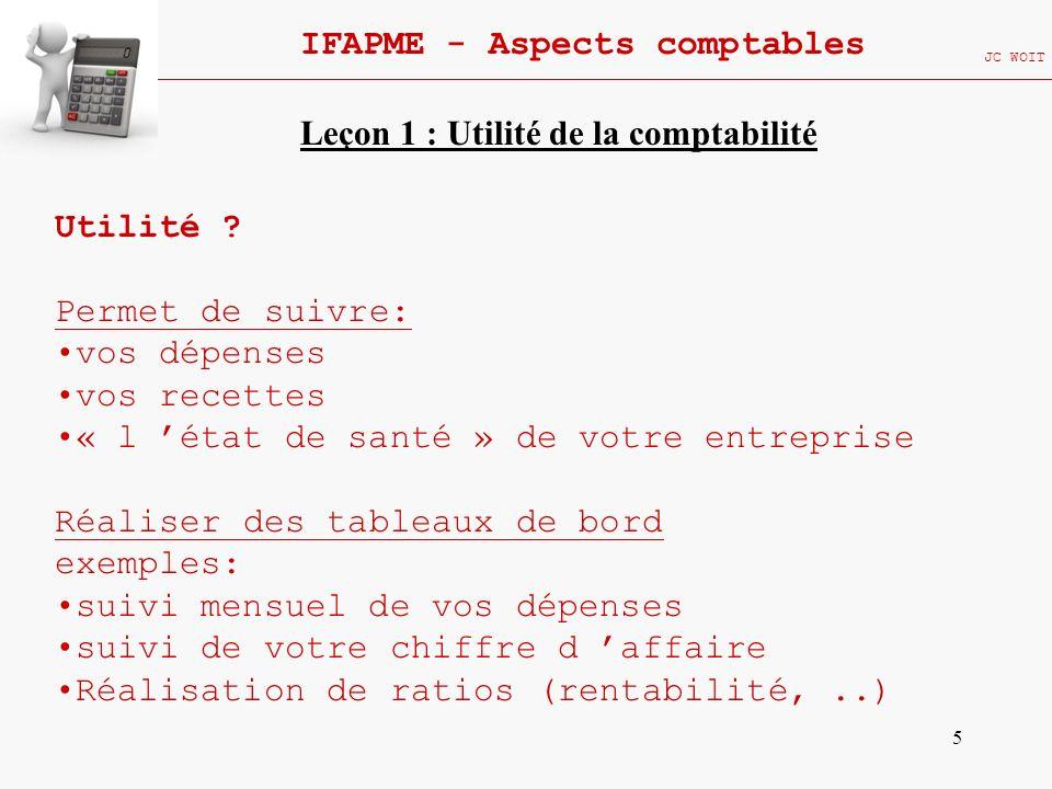 26 IFAPME - Aspects comptables JC WOIT Type de comptabilité : a.Comptabilité générale (suite) Fournir les informations nécessaires à laccomplissement de certaines obligations: Déclaration TVA ONSS PRECOMPTE Déclaration fiscale Leçon 1 : Utilité de la comptabilité