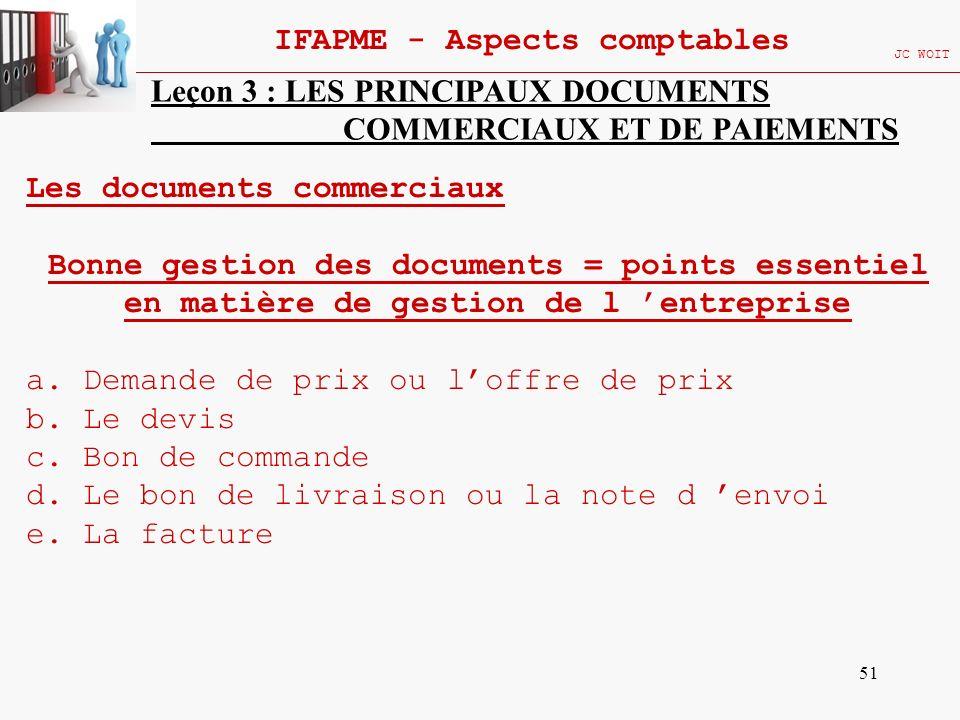 51 IFAPME - Aspects comptables JC WOIT Leçon 3 : LES PRINCIPAUX DOCUMENTS COMMERCIAUX ET DE PAIEMENTS Les documents commerciaux Bonne gestion des docu