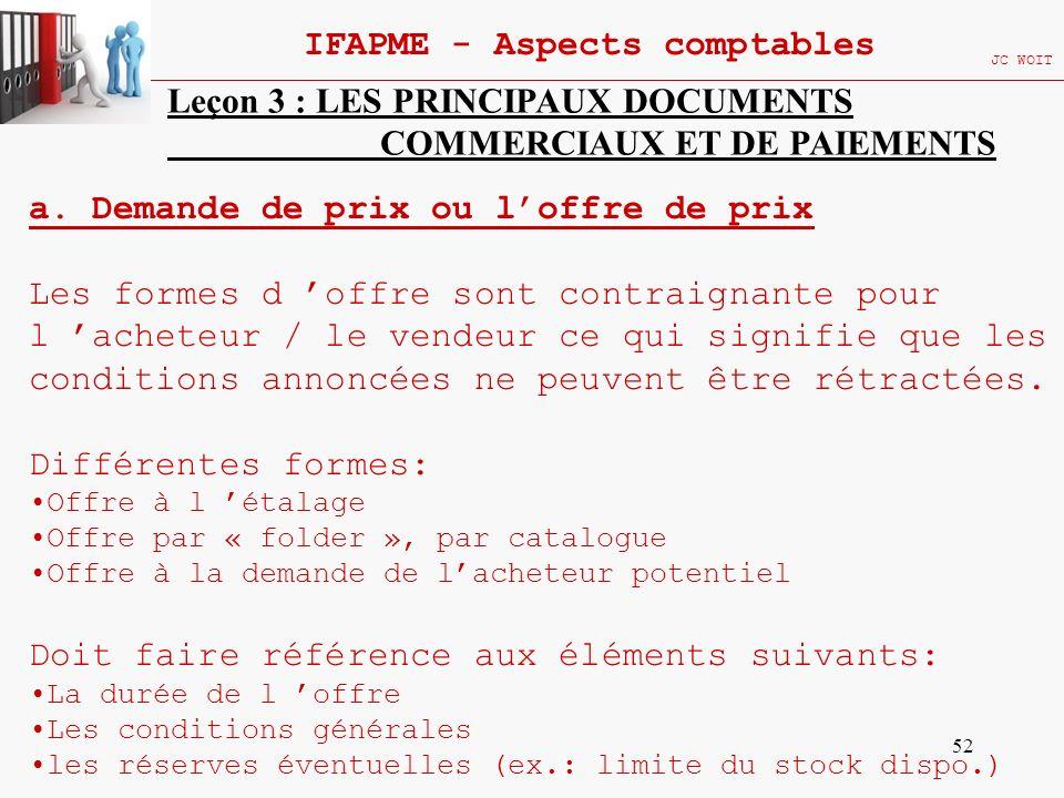 52 IFAPME - Aspects comptables JC WOIT Leçon 3 : LES PRINCIPAUX DOCUMENTS COMMERCIAUX ET DE PAIEMENTS a. Demande de prix ou loffre de prix Les formes