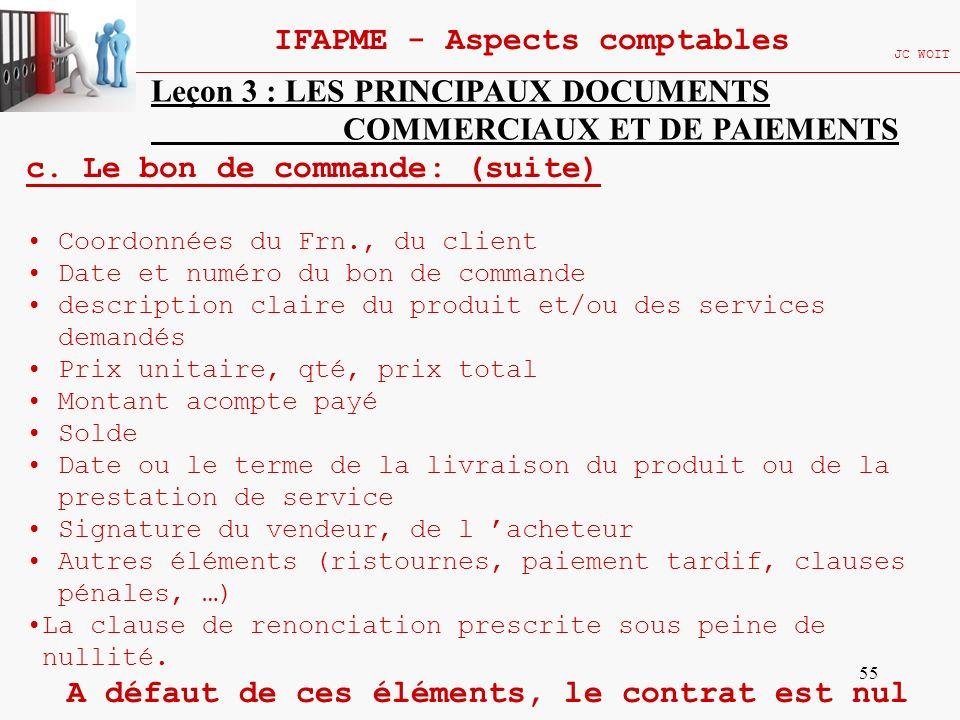 55 IFAPME - Aspects comptables JC WOIT Leçon 3 : LES PRINCIPAUX DOCUMENTS COMMERCIAUX ET DE PAIEMENTS c. Le bon de commande: (suite) Coordonnées du Fr