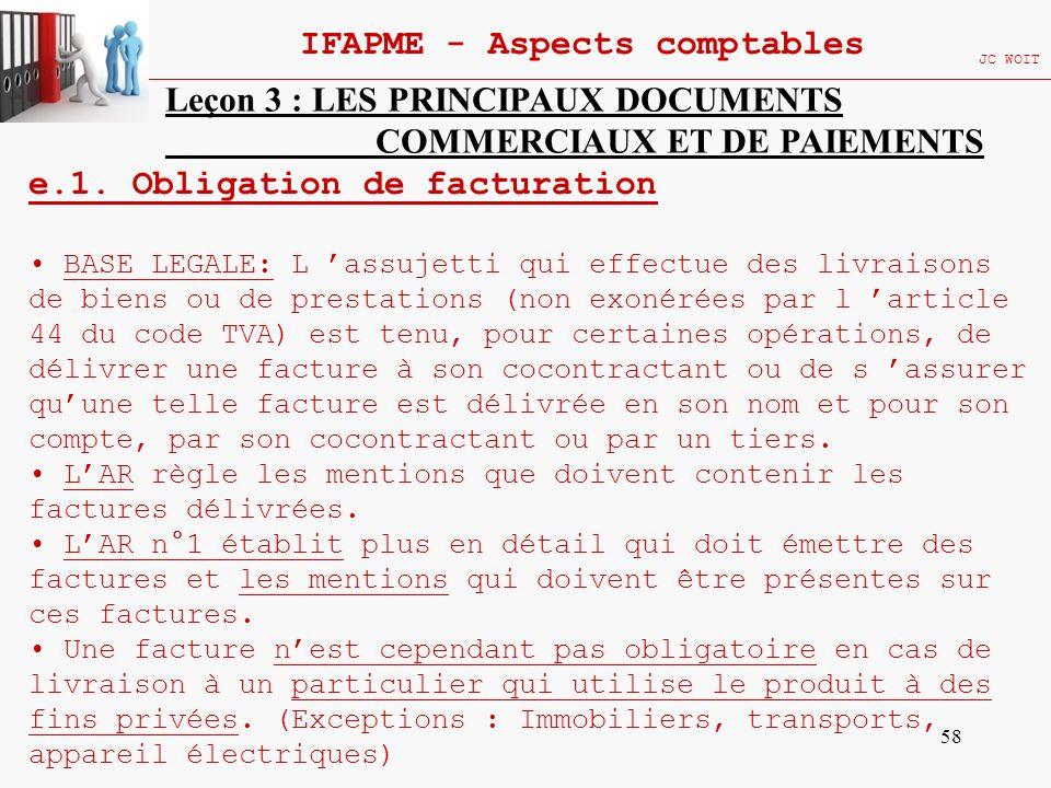 58 IFAPME - Aspects comptables JC WOIT Leçon 3 : LES PRINCIPAUX DOCUMENTS COMMERCIAUX ET DE PAIEMENTS e.1. Obligation de facturation BASE LEGALE: L as