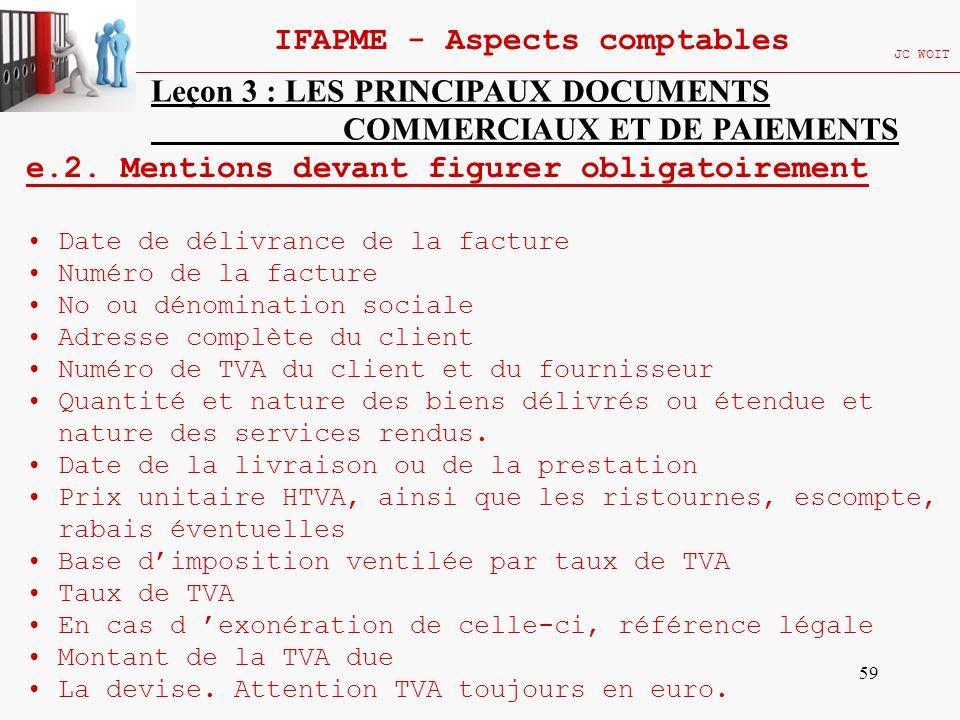 59 IFAPME - Aspects comptables JC WOIT Leçon 3 : LES PRINCIPAUX DOCUMENTS COMMERCIAUX ET DE PAIEMENTS e.2. Mentions devant figurer obligatoirement Dat