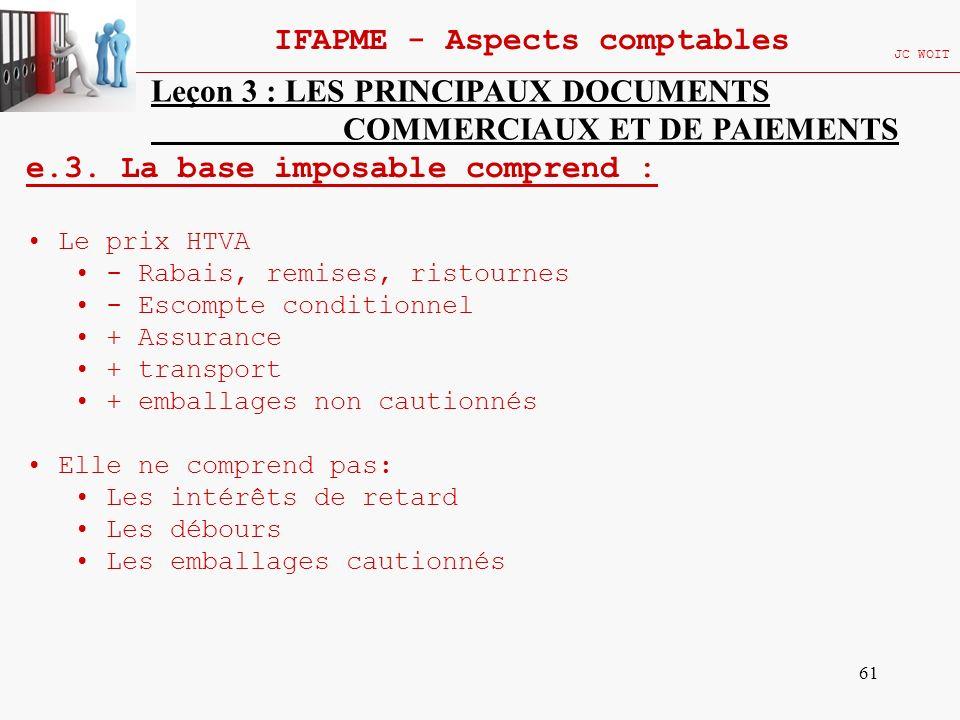 61 IFAPME - Aspects comptables JC WOIT Leçon 3 : LES PRINCIPAUX DOCUMENTS COMMERCIAUX ET DE PAIEMENTS e.3. La base imposable comprend : Le prix HTVA -