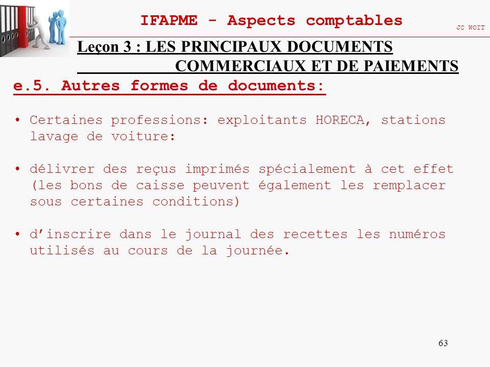 63 IFAPME - Aspects comptables JC WOIT Leçon 3 : LES PRINCIPAUX DOCUMENTS COMMERCIAUX ET DE PAIEMENTS e.5. Autres formes de documents: Certaines profe