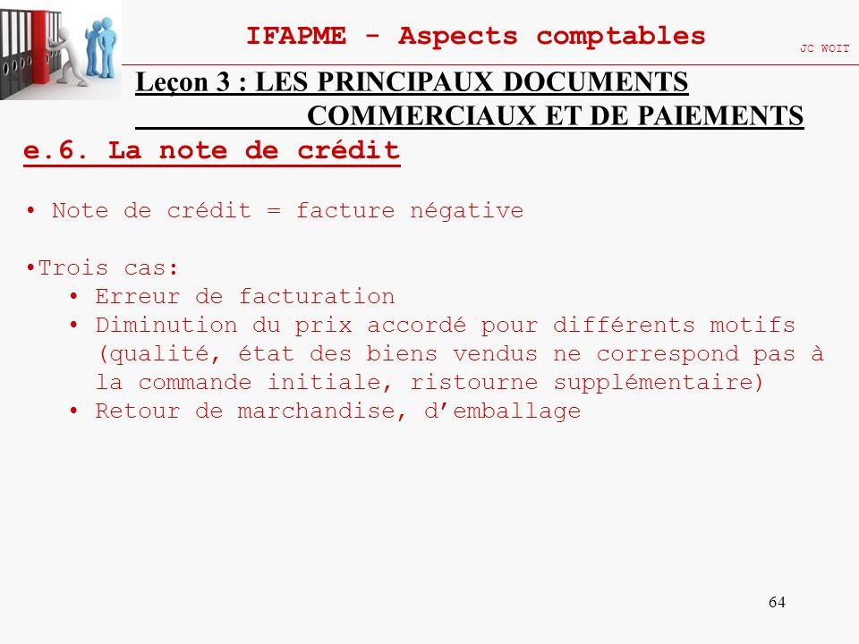 64 IFAPME - Aspects comptables JC WOIT Leçon 3 : LES PRINCIPAUX DOCUMENTS COMMERCIAUX ET DE PAIEMENTS e.6. La note de crédit Note de crédit = facture