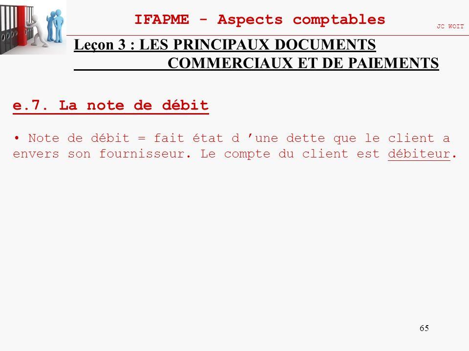65 IFAPME - Aspects comptables JC WOIT Leçon 3 : LES PRINCIPAUX DOCUMENTS COMMERCIAUX ET DE PAIEMENTS e.7. La note de débit Note de débit = fait état