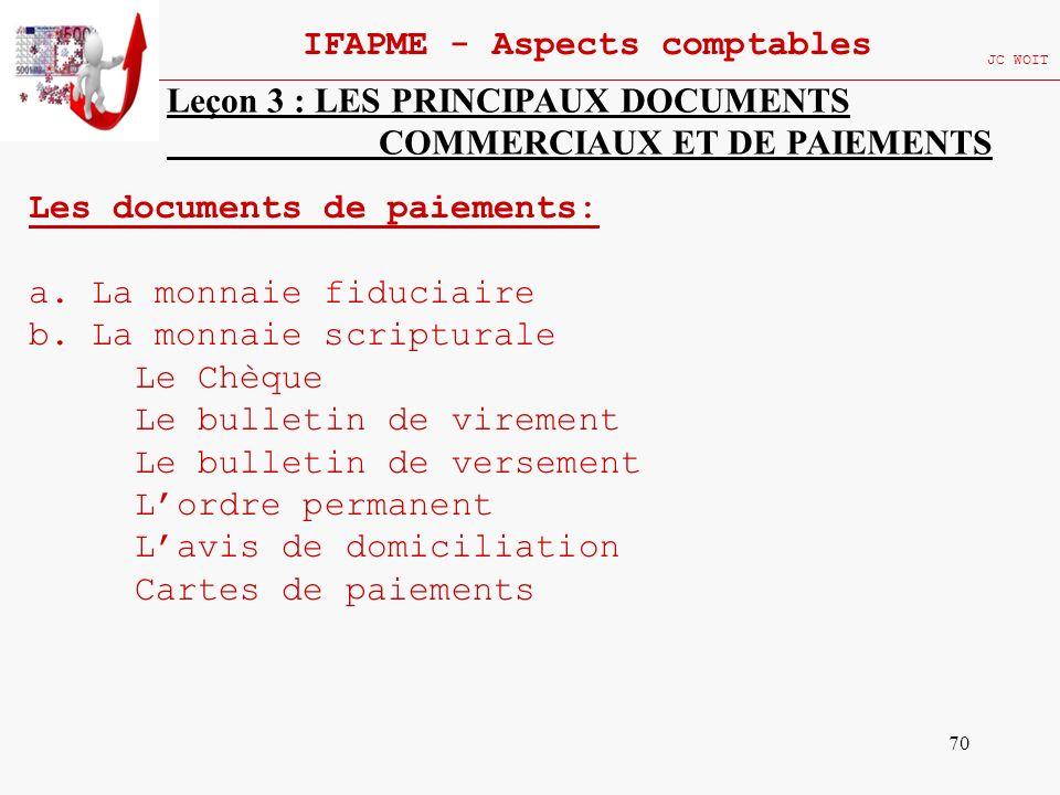 70 IFAPME - Aspects comptables JC WOIT Leçon 3 : LES PRINCIPAUX DOCUMENTS COMMERCIAUX ET DE PAIEMENTS Les documents de paiements: a. La monnaie fiduci