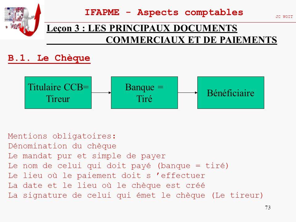 73 IFAPME - Aspects comptables JC WOIT Leçon 3 : LES PRINCIPAUX DOCUMENTS COMMERCIAUX ET DE PAIEMENTS B.1. Le Chèque Mentions obligatoires: Dénominati