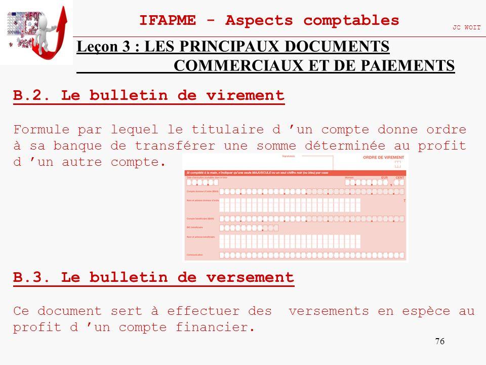 76 IFAPME - Aspects comptables JC WOIT Leçon 3 : LES PRINCIPAUX DOCUMENTS COMMERCIAUX ET DE PAIEMENTS B.2. Le bulletin de virement Formule par lequel