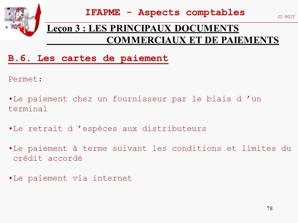 78 IFAPME - Aspects comptables JC WOIT Leçon 3 : LES PRINCIPAUX DOCUMENTS COMMERCIAUX ET DE PAIEMENTS B.6. Les cartes de paiement Permet: Le paiement