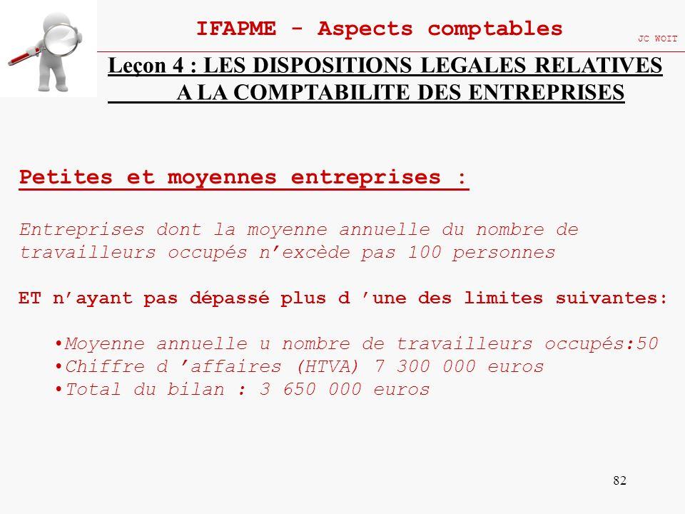82 IFAPME - Aspects comptables JC WOIT Leçon 4 : LES DISPOSITIONS LEGALES RELATIVES A LA COMPTABILITE DES ENTREPRISES Petites et moyennes entreprises