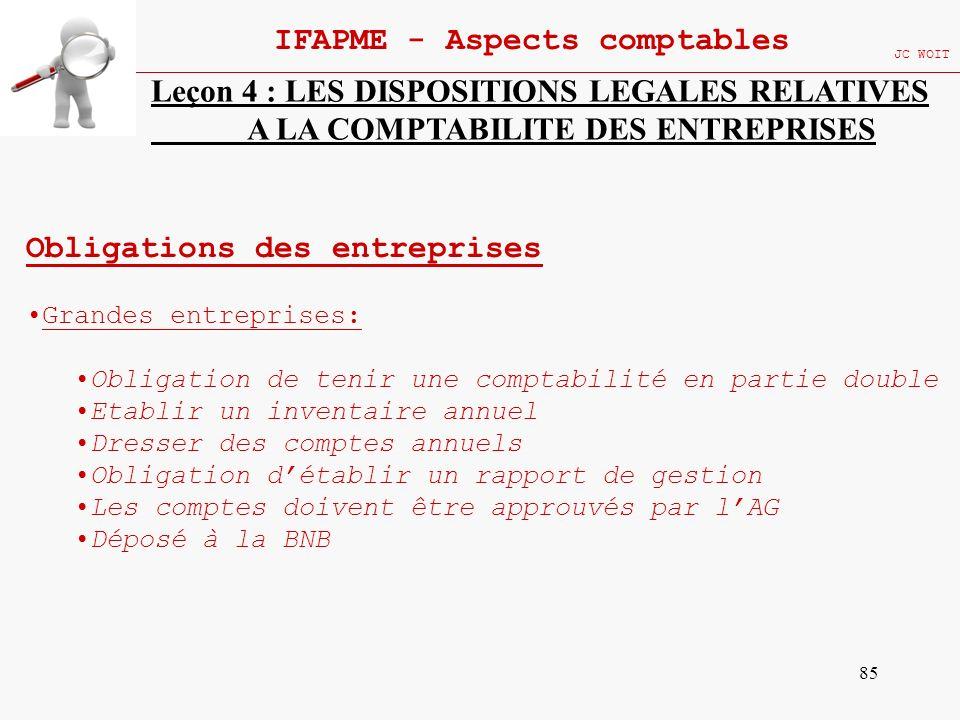85 IFAPME - Aspects comptables JC WOIT Leçon 4 : LES DISPOSITIONS LEGALES RELATIVES A LA COMPTABILITE DES ENTREPRISES Obligations des entreprises Gran