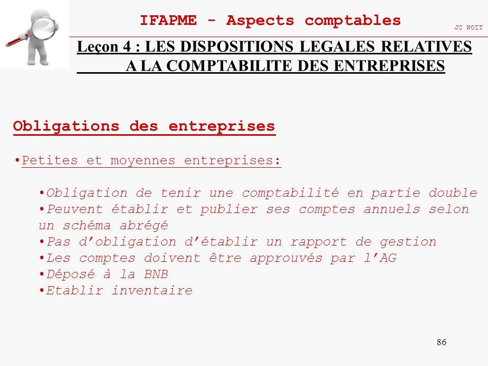 86 IFAPME - Aspects comptables JC WOIT Leçon 4 : LES DISPOSITIONS LEGALES RELATIVES A LA COMPTABILITE DES ENTREPRISES Obligations des entreprises Peti