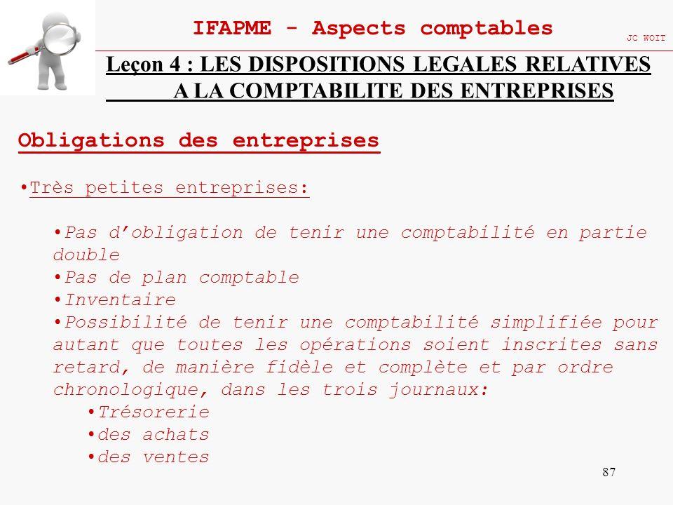 87 IFAPME - Aspects comptables JC WOIT Leçon 4 : LES DISPOSITIONS LEGALES RELATIVES A LA COMPTABILITE DES ENTREPRISES Obligations des entreprises Très