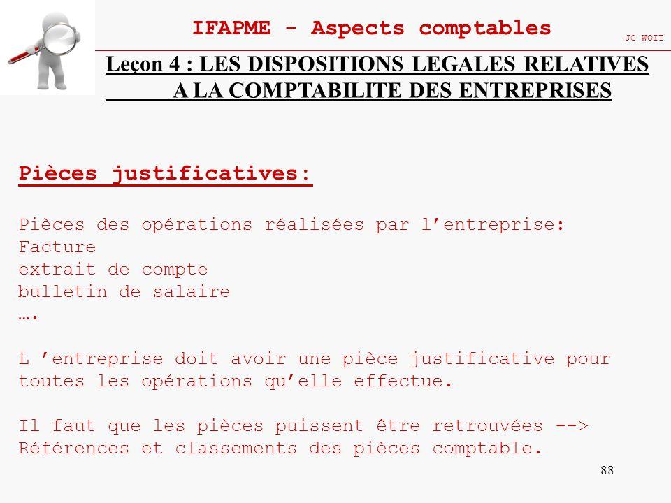 88 IFAPME - Aspects comptables JC WOIT Leçon 4 : LES DISPOSITIONS LEGALES RELATIVES A LA COMPTABILITE DES ENTREPRISES Pièces justificatives: Pièces de