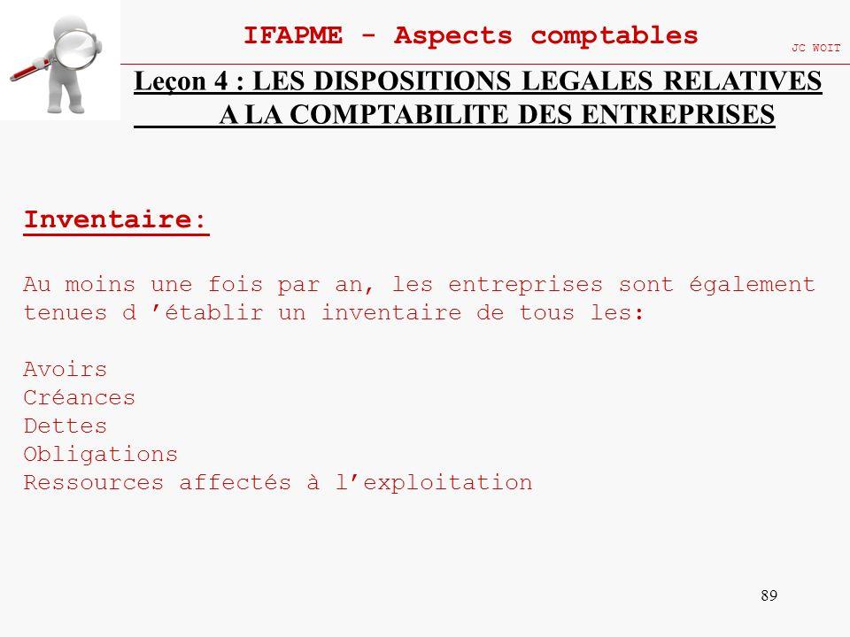 89 IFAPME - Aspects comptables JC WOIT Leçon 4 : LES DISPOSITIONS LEGALES RELATIVES A LA COMPTABILITE DES ENTREPRISES Inventaire: Au moins une fois pa